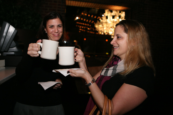 Guests cheered over spiked hot chocolate.
